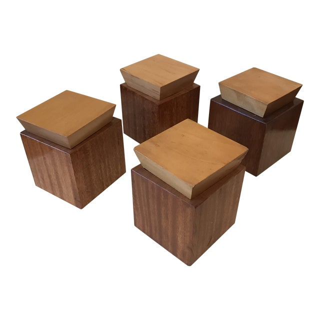 1950s Mid Century Modern Wooden Lidded Boxes - Set of 4 For Sale