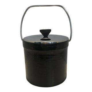 Vintage Black Faux Croc Ice Bucket With Metal Lid and Wood Finial For Sale