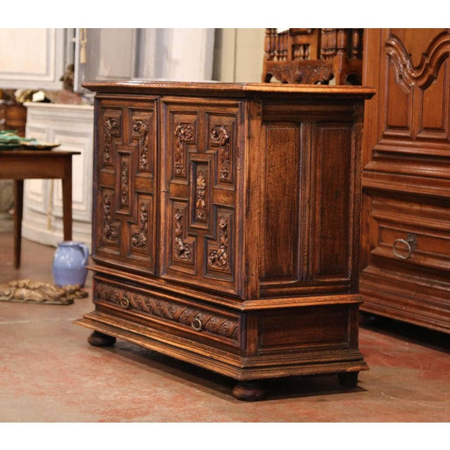 19th Century Italian Carved Walnut Two-Door Buffet Cabinet With Bottom Drawer For Sale In Dallas - Image 6 of 13