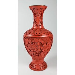 Vintage Chinese Hand-Carved Cinnabar Peonies Vase Preview