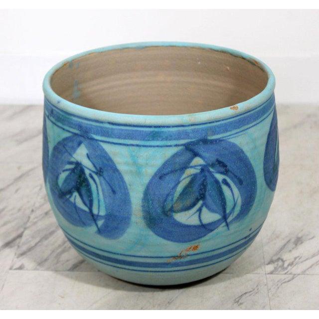 Mid-Century Modern Mid-Century Modern Signed j.t. Abernathy Blue Glazed Ceramic Pot, 1960s For Sale - Image 3 of 8