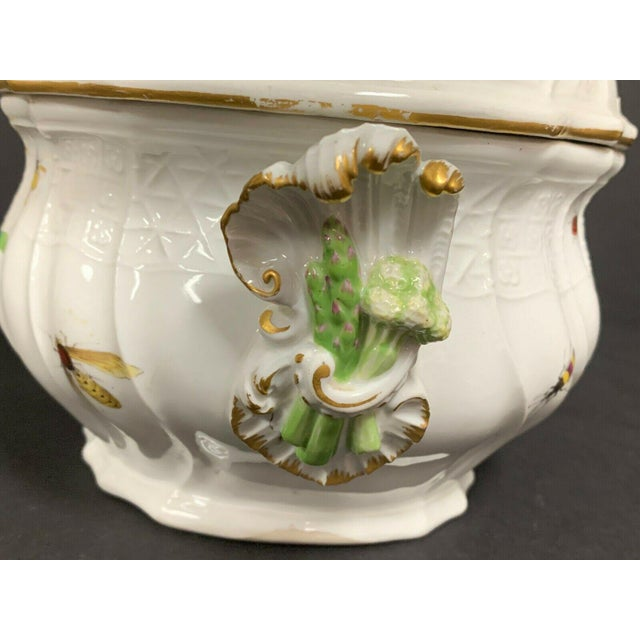 Meissen Porcelain Antique 1750 Meissen Porcelain Tureen with Birds, Insects, Flowers and Boy Finial For Sale - Image 4 of 13