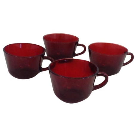 Vintage Cranberry Glass Cups - Set of 4 For Sale
