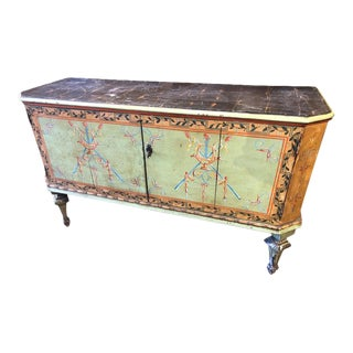 19th Century Neoclassical Green Painted Italian Cabinet For Sale