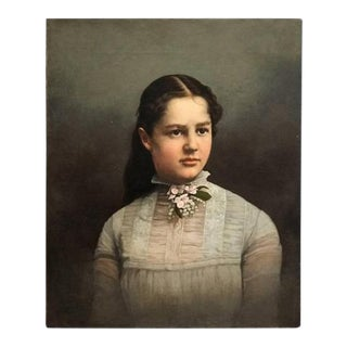 19th Century Antique Young Lady Oil Painting For Sale