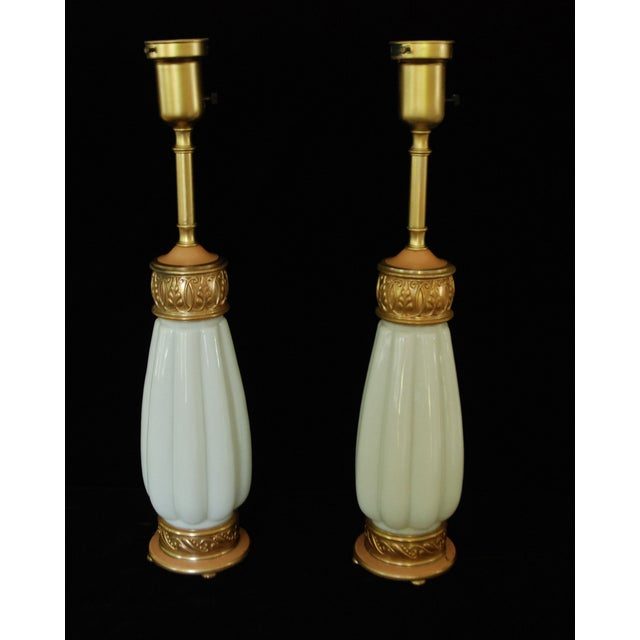 Rembrandt Milk Glass Torchiere Lamps - A Pair For Sale In Portland, OR - Image 6 of 8