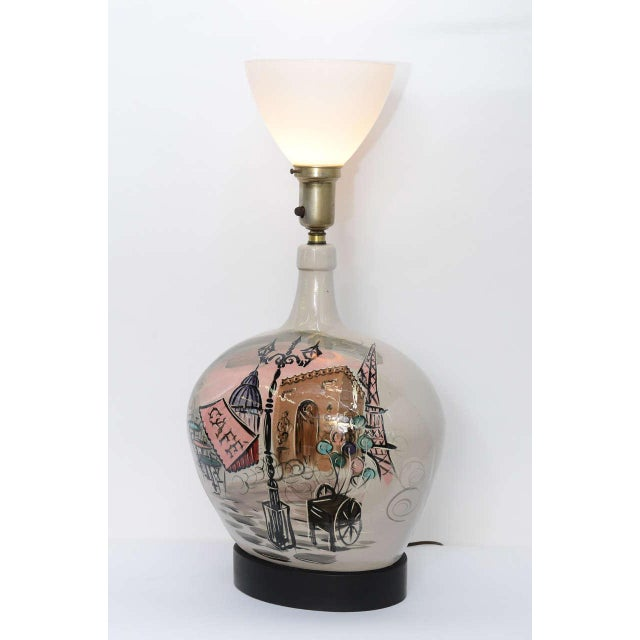 1950s Pottery Vase with Painted Parisian Scene Lamp For Sale - Image 9 of 9