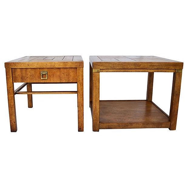 Campaign-Style Side Tables by Drexel - Pair - Image 1 of 7