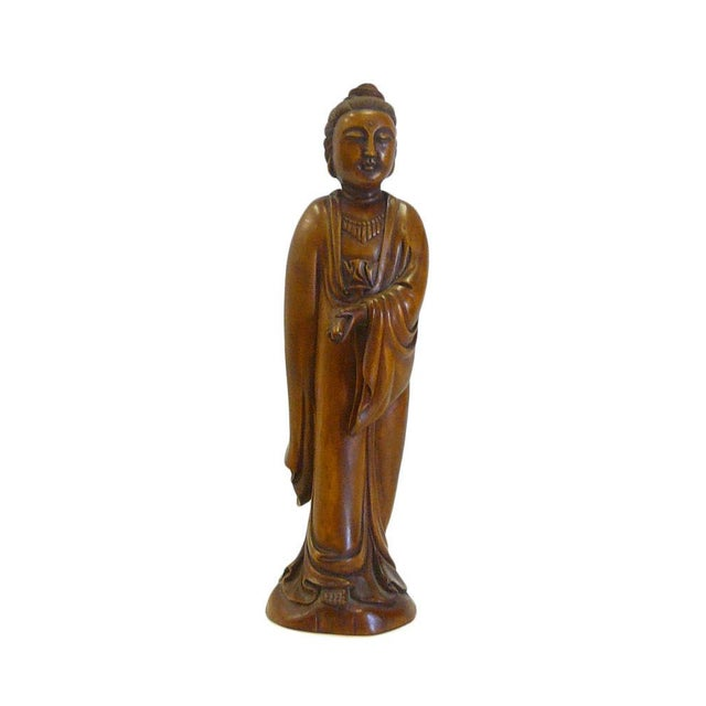 Wood Chinese Boxwood Standing Scholar Kwan Yin Statue cs695-4 For Sale - Image 7 of 7