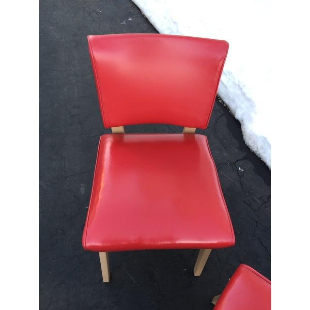 Mid Century Viking Artline Red Vinyl Slipper Chairs A