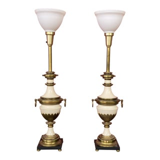Vintage 1970s Stiffel Brass & White Lamps - a Pair For Sale