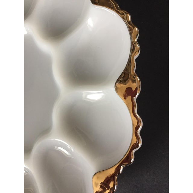 Traditional Vintage Milk Glass Deviled Egg Plate For Sale - Image 3 of 6