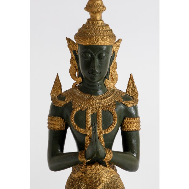 Bronze Bronze Statue of a Thai Teppanom Kneeling Angel Buddha Table Lamp For Sale - Image 7 of 12