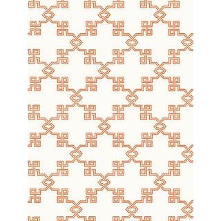 Scalamandre Suzhou Lattice, Coral Wallpaper For Sale