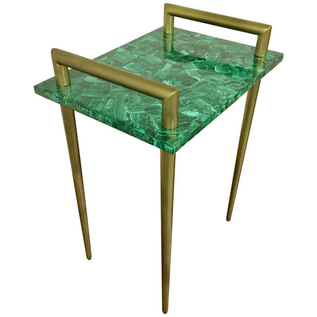 Malachite Stone & Metal Handle Side Table - Image 2 of 5
