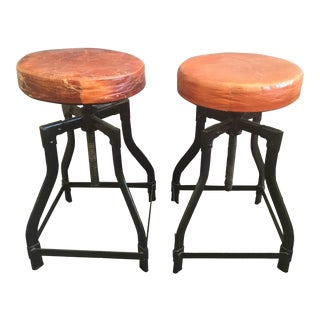 1960s Vintage Adjustable Industrial Leather Topped Stools- a Pair For Sale