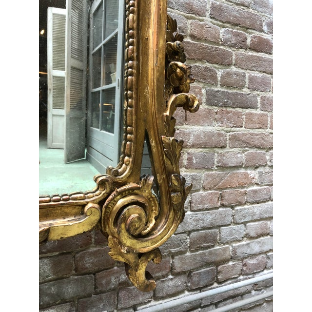 Gold 18th Century Carved Gilt Wood Louis XV Mirror, Provenance Paris France For Sale - Image 8 of 10