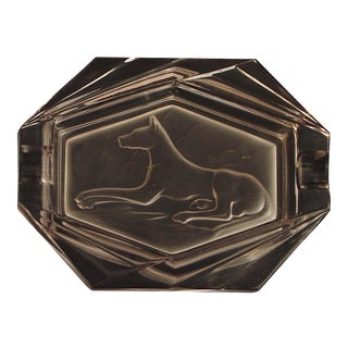 Vintage French Art Deco Glass Ashtray by Etling With a Dog Featured For Sale