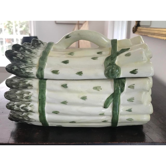 Vintage Majolica White and Green Asparagus Tureen For Sale - Image 13 of 13