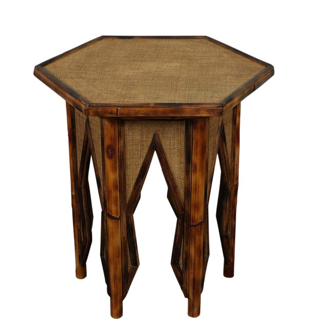 Jw Custom Line Tiger Bamboo Hexagonal Side Table For Sale