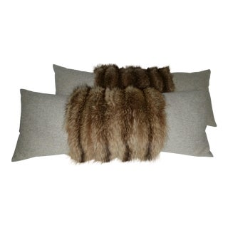 Raccoon and Herring Bone Fabric Pillows - a Pair For Sale