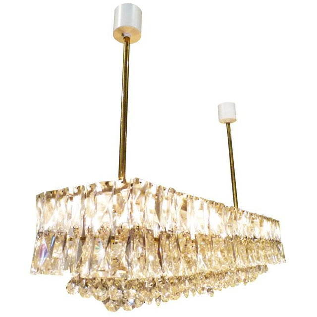 Italian J. & L. Lobmeyr Crystal and Brass Box Chandelier, Italy, 1960s For Sale - Image 3 of 4