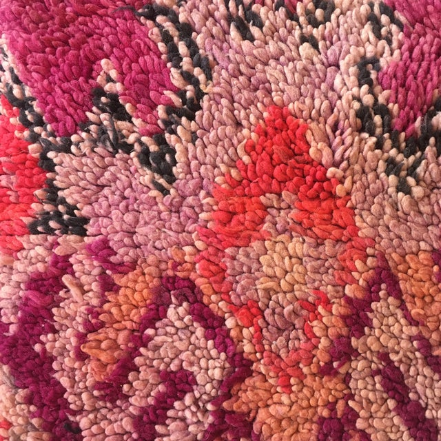 Boho Chic Vintage Moroccan Pink Wool Pouf For Sale - Image 3 of 7