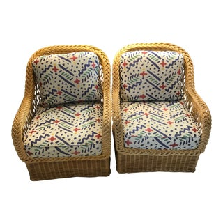 Vintage Bielecky Brothers Nyc Wicker Cushioned Arm Chairs - a Pair For Sale