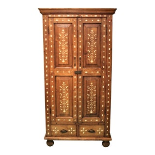 20th Century Shabby Chic Wooden Cabinet With Bone Inlay Detail