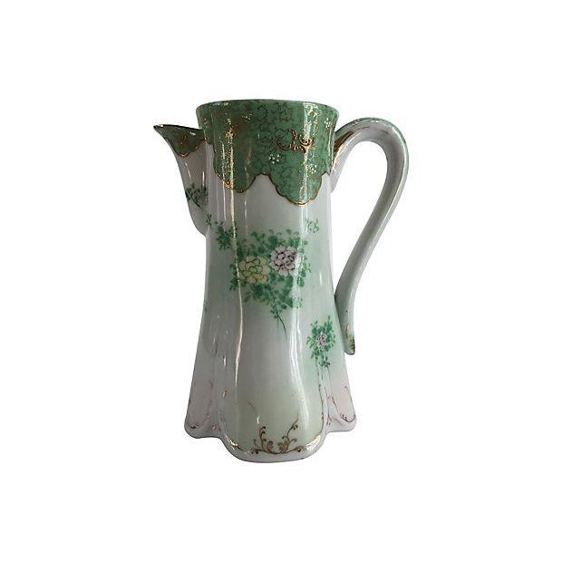 French Art Nouveau Porcelain Hand-Painted Pitcher For Sale - Image 5 of 5
