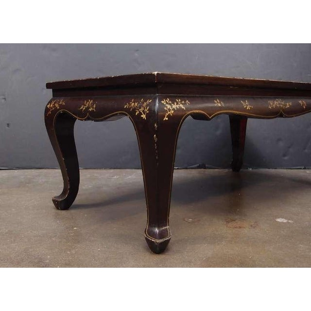 Gold Leaf A Chinoiserie Brown Lacquer and Gilt Decorated Coffee Table For Sale - Image 7 of 7