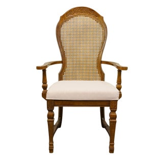 Late 20th Century Vintage Universal Furniture Country French Cane Back Dining Arm Chair For Sale