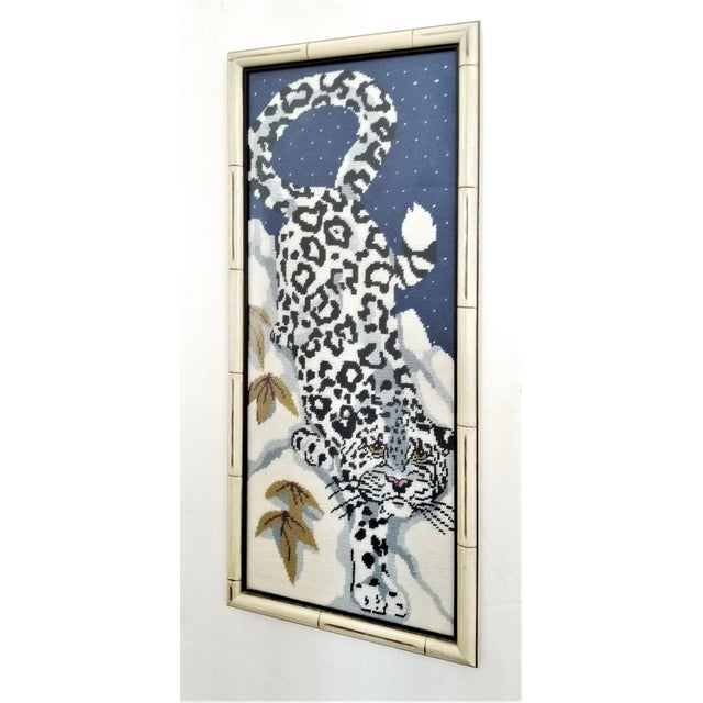 Vintage Chinese Snow Leopard Needlepoint With Faux Bamboo Frame -Signed 1976 - Asian Mid Century Modern Palm Beach Chic Animal Cheetah Tiger For Sale - Image 4 of 12