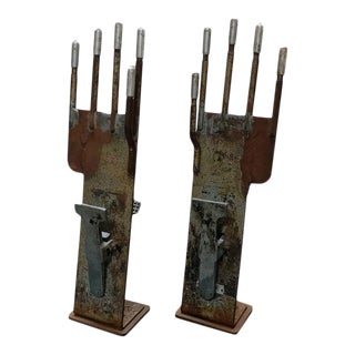 Antique French Glove Molds in Metal - A Pair For Sale
