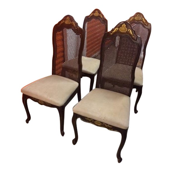 French Colonial Woven Cane Back Chairs - Set of 4 - Image 1 of 6