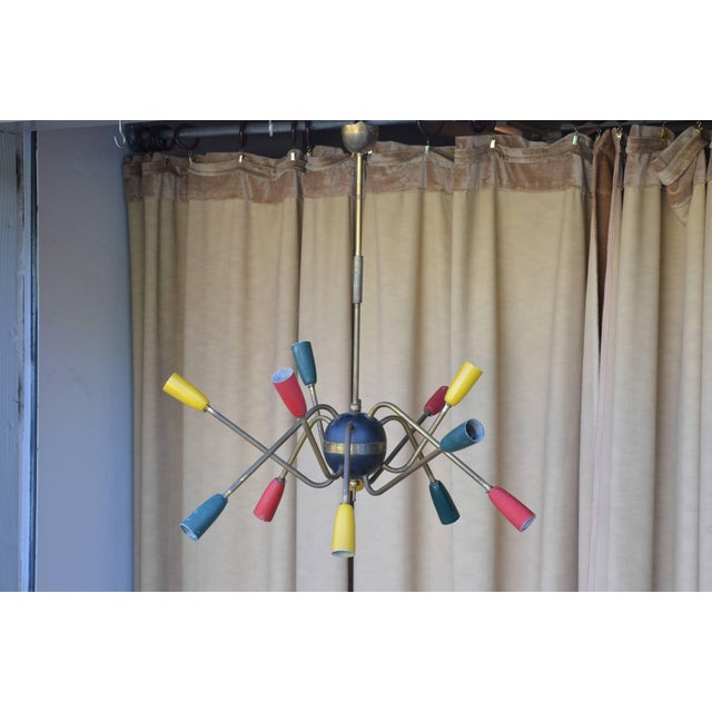 1950s 1950s Multi Colored Brass Stem Chandelier For Sale - Image 5 of 5