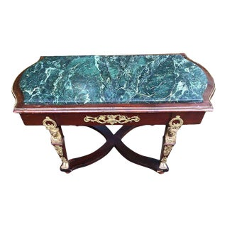 Empire Style Green Marble Top Coffee Table For Sale