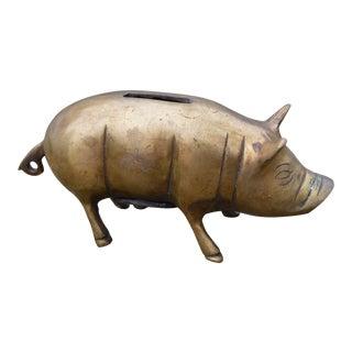 Vintage Brass Piggy Bank For Sale