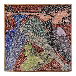 Cubist Glass Mosaic Wall Sculpture Mid Century Modern Vintage MCM Vintage