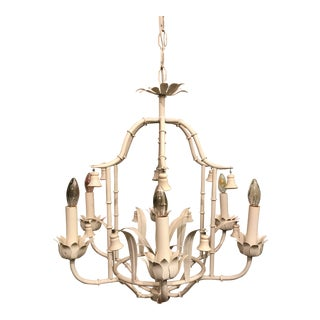 Chinoiserie Faux Bamboo Tole Pagoda Chandelier For Sale