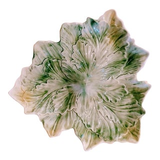 Vintage Large Ceramic Green White Italian Cabbage Leaf Platter For Sale