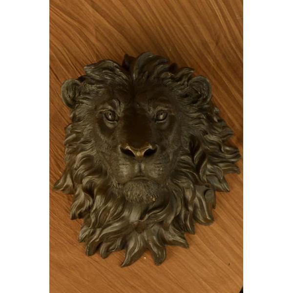 Art Deco Wall Mount Lion Head Bust Bronze Sculpture For Sale - Image 3 of 8