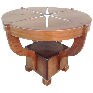 1930s Art Deco Mixed Woods Round Occasional Table For Sale
