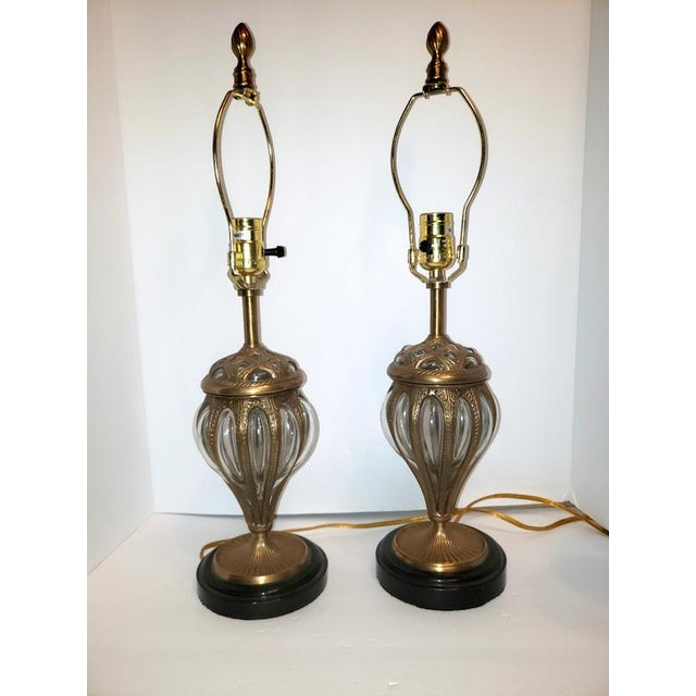 Murano & Brass Bubble Cage Art Glass Italian Table Lamps - a Pair For Sale - Image 10 of 13