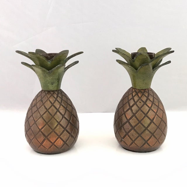Pineapple Candle Stick Holder Palm Beach Style - a Pair For Sale - Image 11 of 11