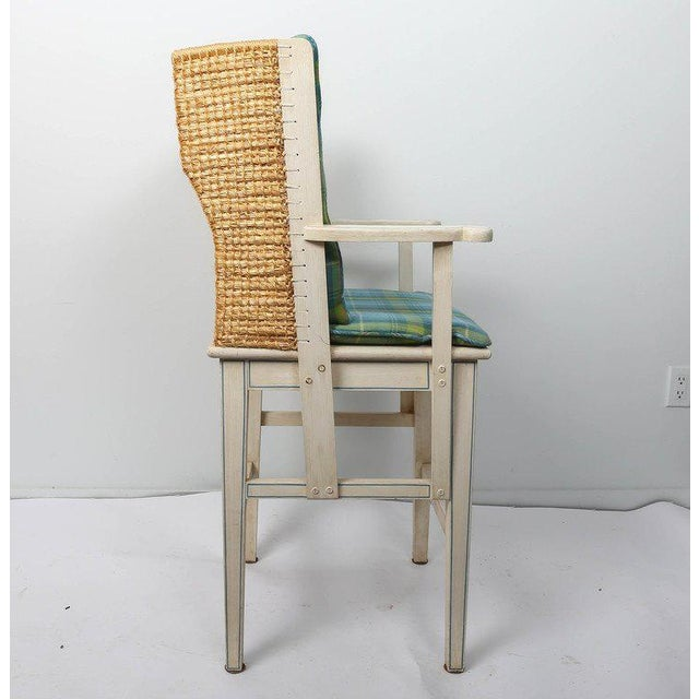 Painted Orkney style barstool with Thrush back and upholstered back cushion.