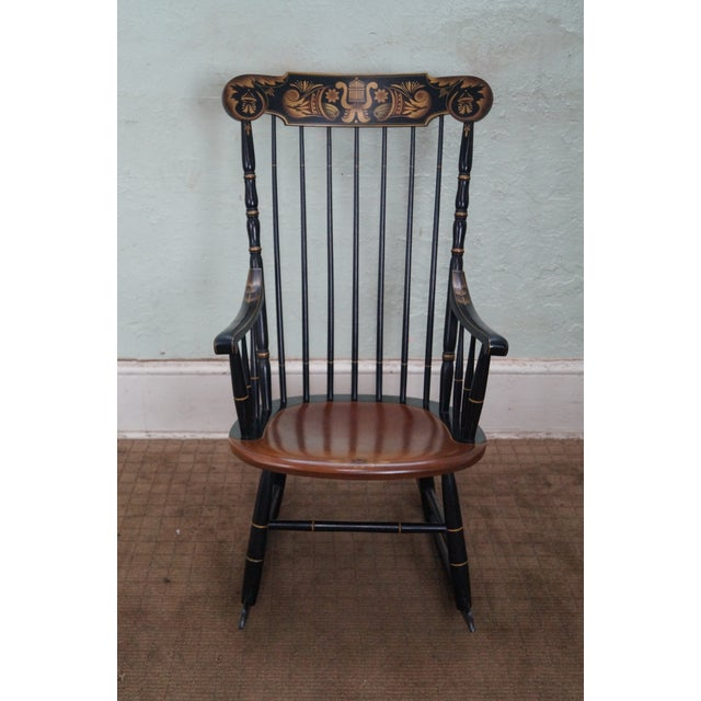 Hitchcock Black Painted Stenciled Rocking Chair - Image 2 of 10