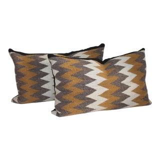 Navajo Indian Streak of Lighting Weaving Bolster Pillows - a Pair For Sale