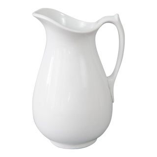 Antique English White Ironstone Pitcher For Sale