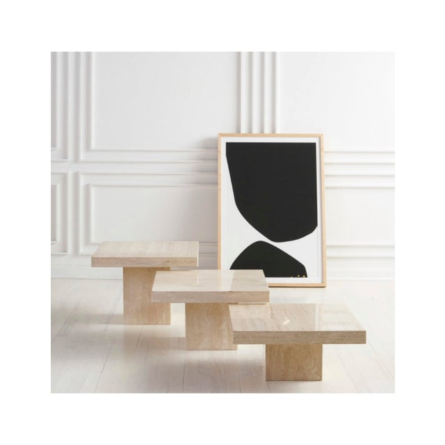 Trio of Polished Travertine Cocktail Tables For Sale In Chicago - Image 6 of 8